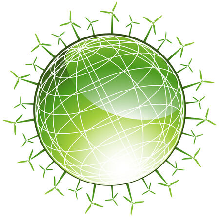 spinning windmill: Wind Turbine Globe : Green planet with spinning windmill icons in a green and white color.