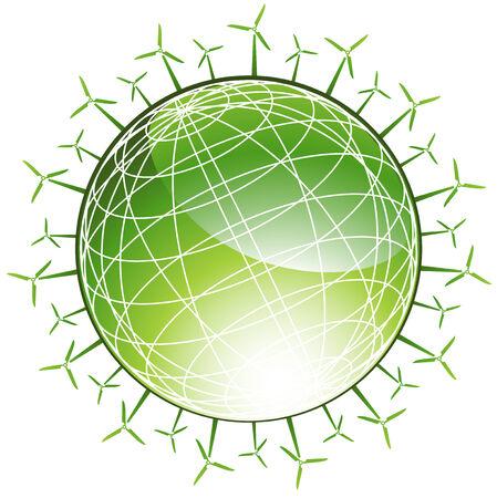 Wind Turbine Globe: Groene planeet met spinnen windmolen pictogrammen in een groene en witte kleur.