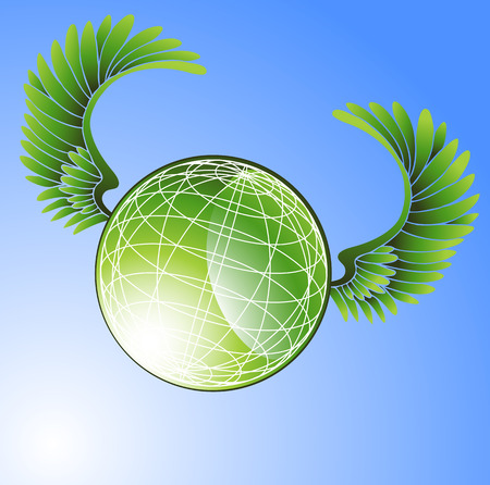 Flying World : Green globe with feathered wings on a blue sky background. Stock Vector - 5165403