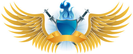 Blue Flame Shield Crest : Winged insignia object with sword, flame, shield and gold banner. Vector