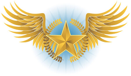 Wreathed Star Crest : Winged insignia object with a star, wreath and large wingspan. Vector