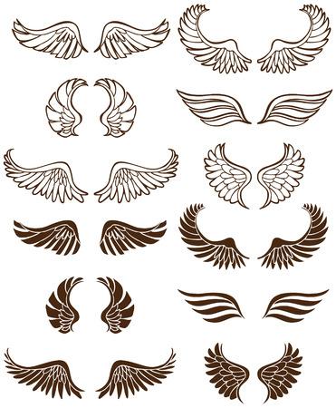 Wing Set: Line art angel wing flight symbols in a wide range of styles.