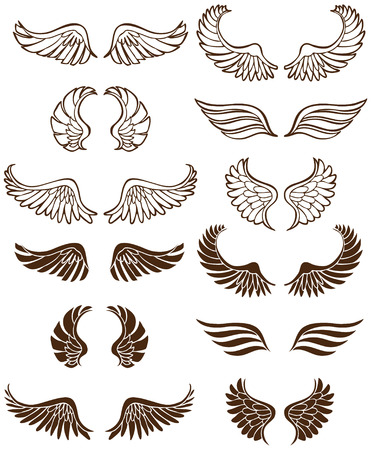 Wing Set: Line art angel wing flight symbols in a wide range of styles. Stock Vector - 5165401