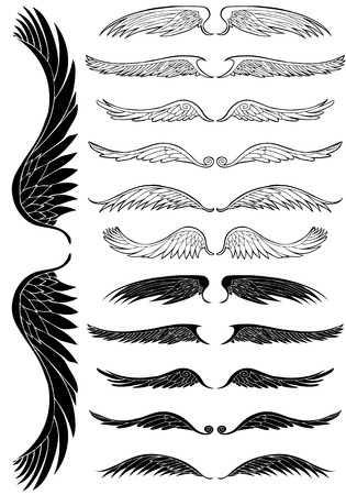 Wing Black Set: Line art angel wing flight symbols in a wide range of styles.