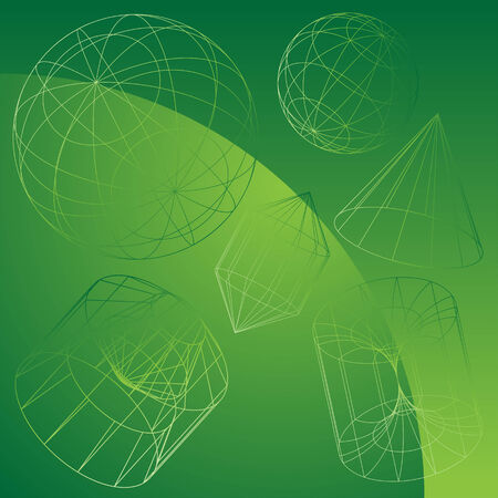 3D Primitive Shapes Green : Wire frame geometric shape objects on a green gradient background. Ilustração