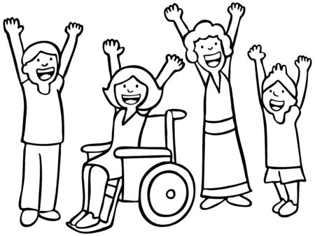 wheelchair: Children Cheer Line Art