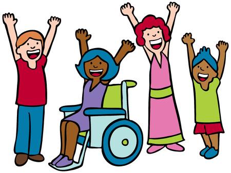 enfants handicap�s: Enfants Cheer Illustration