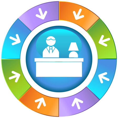 hotel front desk wheel Vector