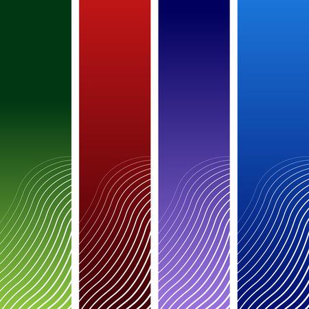 vertical halftone wave banner set