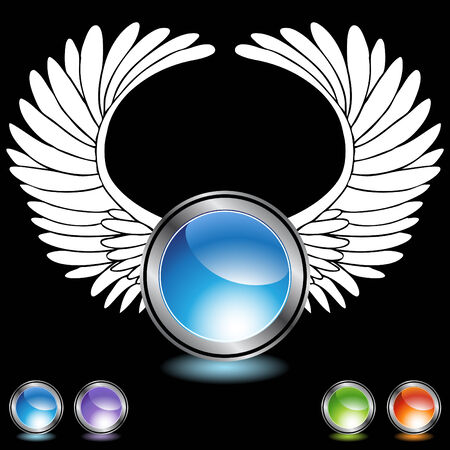 angel wing chrome crystals Vector