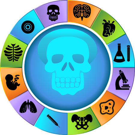 Biology Wheel Icon Set : Medical themed buttons. Vector