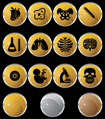 Biology Metal Icon Set : Medical themed buttons. Vector