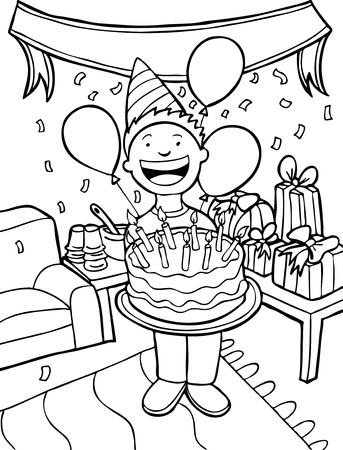 Birthday Party Line Art: Child holding a cake. Vector