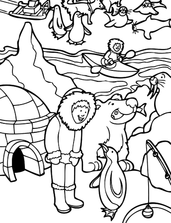 Alaska Line Art : Cartoon of child visiting Alaska.