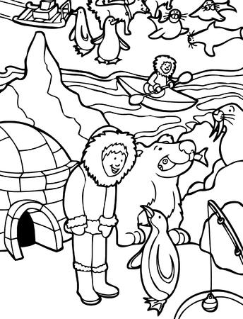 ice fishing:  Arte lineal de Alaska: Cartoon de ni�o visitar Alaska.