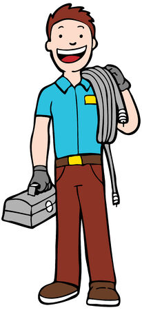 installer: Cable Guy : man carry cable and toolbox