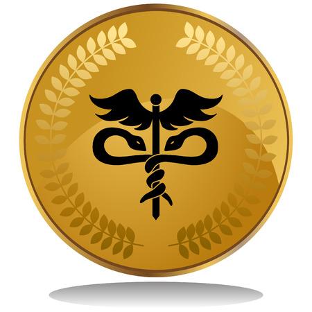 pharmacy snake symbol: medical symbol coin Illustration