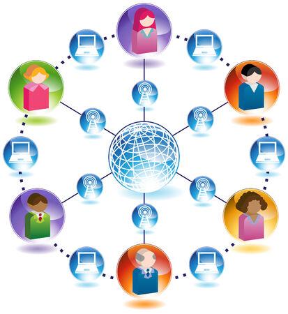 Wireless Internet People Network : Communication chart set. Stock Vector - 5267034