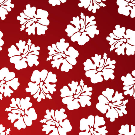 tropical floral print red Vector
