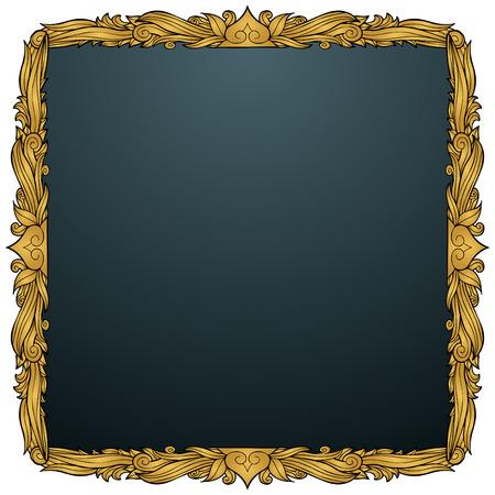 Decorative Frame Filigree Gold : Square ornate border icon. Vector