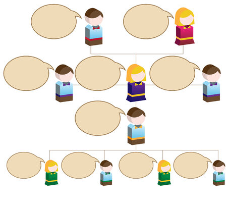 Organizational Children Speak Chart : Flowchart diagram with blank space for copy. Vector