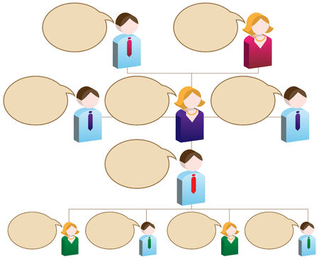 Organizational People Speak Chart : Flowchart diagram with blank space for copy.