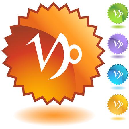 Capricorn zodiac badge Vector