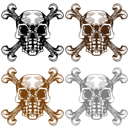 Crossbones Icon Set : Skull drawing group. Stock Vector - 5292930