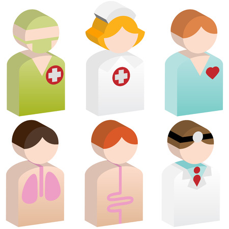 Medical People Icon Set : Healthcare 3D Buttons.