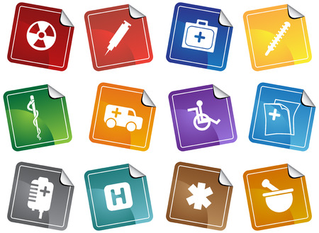 Medical Sticker Icon Set Vector