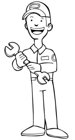 Repairman Cartoon Isolated Line Art