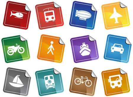 Transportation Sticker Set Stock Vector - 5292912