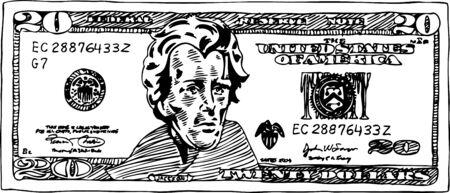 Cash twintig dollar bill