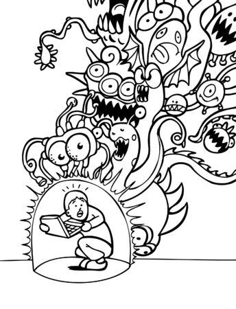 virus:  Virus Protection Cartoon Illustration