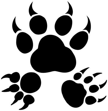 bear paw: Paw Print Set : Group of black and white animal foot prints. Illustration