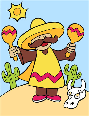 Mexican Maraca Player : Musician in sombrero and poncho. Vector Illustration