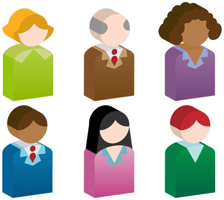 interracial: People Icons: Grupo de botones 3D de personas.