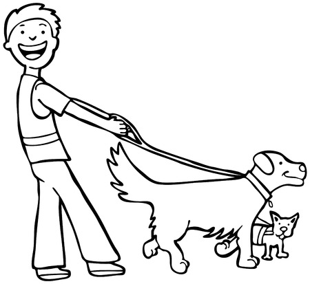 dog leash: Dog Walker Line Art: Man walking two dogs.