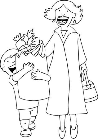 Son Helping Mom Line Art Vector