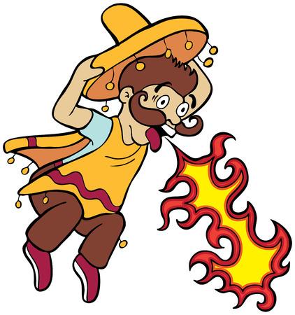 Kruidig voedsel Mexicaanse Cartoon