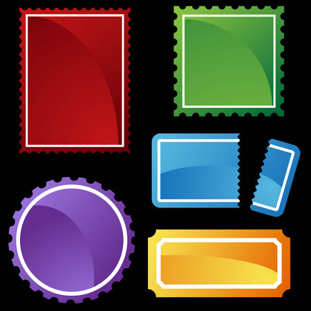 perforated ticket icon set color Иллюстрация