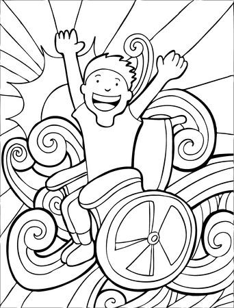 handicap people: Happy personas de movilidad reducida Child Line Art