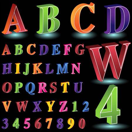 isometrische brief aantal set zwart