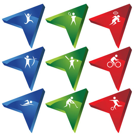 Sports Arrow Icon Set : Group of colorful 3D arrows. Vector
