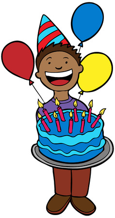 Birthday Party Child: Child holding a cake. Vector