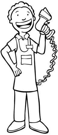 Caissière Line Art: Man met streepjes code scanner geweer. Stock Illustratie