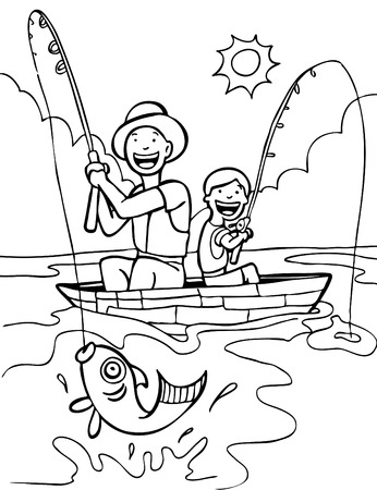 cartoon fishing: Father Son Fishing Trip Line Art Illustration