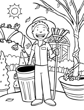 Jardinero Cartoon Line Art: Paisajista con papelera y rastrillo. Ilustración de vector