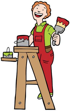 peintre en b�timent: Maison de peintre: L'homme sur l'�chelle avec un pinceau et un seau.
