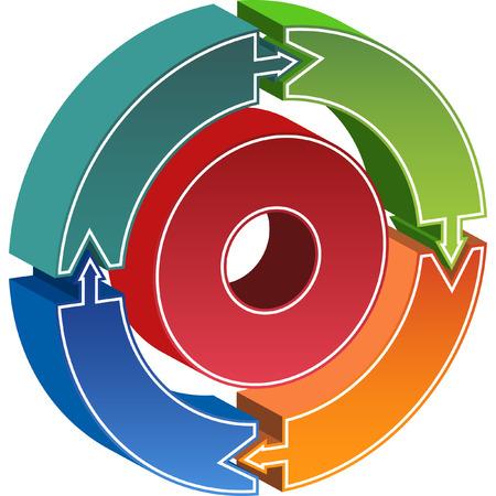 blue circles: Arrow process chart Illustration